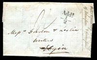 Lot 4076 [1 of 2]:1831 Stampless Entire from Edinbourgh to Elgin with 'Addl ½' handstamp in black at right and backstamp OCT 27 1831 in red.