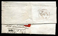 Lot 3682 [2 of 2]:1843 Entire to Fife with Imperf 1d red-brown tied by fine 7 in black Maltese cross with backstamp in red AUG 9 1843, filing crease.