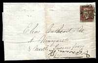 Lot 3682 [1 of 2]:1843 Entire to Fife with Imperf 1d red-brown tied by fine 7 in black Maltese cross with backstamp in red AUG 9 1843, filing crease.