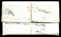 Lot 3575 [2 of 2]:1843 Entire from Whitburn to Pennycimck with imperf QV 1d red brown tied by fine Maltese cross in black with boxed Whitburn FE 9 1843 and boxed Pennycimck FE 10 1843 backstamps in black, filing crease.