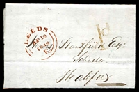 Lot 3876 [1 of 2]:1849 stampless entire from Leeds to Halifax with fine Leeds AP 19 1849 handstamp in red at left and '1d' handstamp in red at right and light Halfiax AP 20 1844 backstamp in blue .