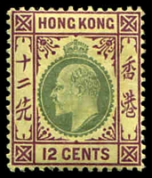 Lot 4111:1903 KEVII Wmk Crown CA SG #68 12c green & purple on yellow.
