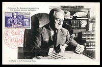 Lot 4404:1947 Roosevelt 50c tied to real Photo PPC of President Roosevelt examing his Stamp Collection, this photo was used for the design of the stamp tied by Monte Carlo cancel 26 Juin 47, nice card.