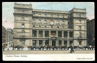 Lot 1217 [2 of 2]:1907 use to San Fernando Philippine Island of multicoloured PPC 'Custom House Sydney', with 1d Arms tied by NSW cds DE 3 1907 and NSW T 5 tax handstamp at left, San Fernando receiving cds DEC 20 1907, nice destination and tax item.