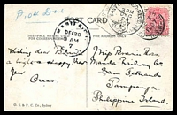Lot 1217 [1 of 2]:1907 use to San Fernando Philippine Island of multicoloured PPC 'Custom House Sydney', with 1d Arms tied by NSW cds DE 3 1907 and NSW T 5 tax handstamp at left, San Fernando receiving cds DEC 20 1907, nice destination and tax item.
