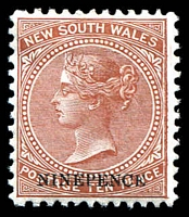 Lot 1066:1882-97 Wmk 2nd Crown/NSW SG #236db 9d on 10d red brown P12.