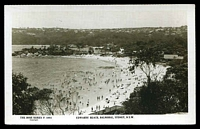 Lot 735:Balmoral Beach: - Black & white PPC 'Edwards' Beach. Balmoral. Sydney, NSW' real photo, unused.  PO 15/6/1936; closed 30/4/1987.