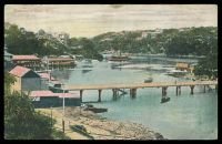Lot 5766:Mosman's Bay: Multicoloured PPC 'Mosman's Bay, Sydney', used in 1910 on SS Surrey on way to Durban, South Africa, stamp removed.  Renamed from Mossman's Bay PO 1/8/1893.