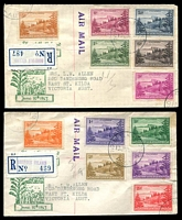 Lot 4215 [1 of 2]:1947 Ball Bay set to 2/- brown tied to two illustrated Registered FDCs by Norfolk Island cds 10JUN47.