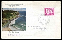 Lot 4463:1960 Christmas 5d tied to illustrated FDC by Norfolk Island cds 21NO60.