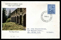 Lot 4490:1962 Christmas 5d tied to illustrated FDC by Norfolk Island cds 19NO62.