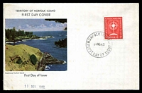 Lot 4491:1963 Christmas 5d tied to illustrated FDC by Norfolk Island cds 11NO63.