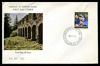Lot 4043:1965 Christmas 5d tied to illustrated FDC by Norfolk Island cds 25OC65.