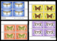 Lot 4122 [4 of 5]:1976-77 Butterflies and Moths SG #179-95 definitive set in marginal blocks of 4.