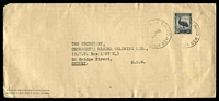Lot 4526:1946 long envelope used to Australia with Australian 5½d Emu tied by Samarai cds 24JA46.