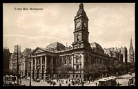 Lot 78:Australia - Victoria: Black & white PPC 'Town Hall Melbourne', real photo with tram in foreground.