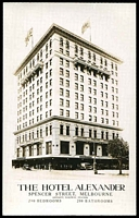Lot 387:Australia - Victoria: Black & white PPC 'The Hotel Alexander Spencer Street Melbourne', real photo, nice advertising card.