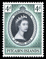 Lot 23649:1953 Coronation SG #17 4d black & green.