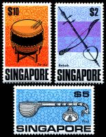 Lot 4146:1968-73 Definitives SG #113-5 $2, $5 & $10 Musical Instruments. (3)