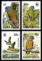Lot 4374:1987 WWF St Lucia Amazon Parrot SG #969-72 set. (4)