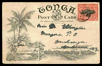 Lot 28504 [1 of 2]:1906 Scenic Card HG #1 with scene on reverse 'The Orange Groves of Tonga', used to New Zealand in 1911.