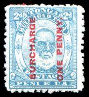 Lot 28843:1895 Surcharges SG #25 1d on 2d pale blue.
