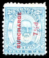 Lot 28847:1895 Surcharges SG #28b 7½d on 2d pale blue P12x11.