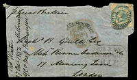 Lot 1872:1854 light weight entire front with 1/- Octagonal tied by Melbourne barred oval cancel with Melbourne OC28 1854 handstamp at left together with Liverpool Ship 24 JA 1855 handstamp, nice piece.