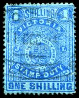 Lot 1950:1884-96 Stamp Duty Typo Wmk 1st V/Crown Perf 13 SG #256c 1/- bright blue on blue P12½, fiscal cancel.
