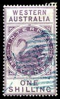 Lot 3351:1893 Long Types Wmk Crown/CA SG #F15 1/- dull purple, blue cancel.
