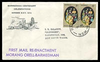 Lot 4660:1974 Barmedman Centenary illustrated cover carried on first mail re-enactment with adhesives tied by Barmedman cds 5 OC 74.