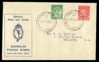 Lot 4462:APO 1937 1d QE & 2d KGVI illustrated FDC with adhesives tied by Adelaide cds 10MY37.