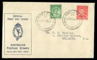 Lot 4247:APO 1937 1d QE & 2d KGVI illustrated FDC with adhesives tied by Adelaide cds 10MY37.
