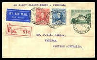 Lot 638 [1 of 2]:1930 Derby - Wyndham AAMC #165a Intermediate Registered cover flown from Roebourne and backstamped Wyndham14JUL30.
