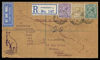 Lot 640 [1 of 2]:1932 England - Australia AAMC #245 Registered illustrated cover for delayed Christmas delivery flight backstamped Sydney 21JA 32.