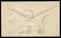 Lot 645 [2 of 2]:1951 Melbourne - Christchurch - Melbourne AAMC #1276 boomerang cover with cachet at lower left.