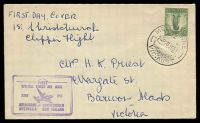 Lot 645 [1 of 2]:1951 Melbourne - Christchurch - Melbourne AAMC #1276 boomerang cover with cachet at lower left.