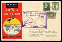 Lot 822 [1 of 2]:1952 Australia - South Africa AAMC #1307 illustrated Qantas cover with adhesives tied by Sydney cds 1SE52 with cachet in violet at left