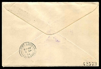 Lot 868 [2 of 2]:1952 Australia - South Africa AAMC #1308a illustrated Qantas cover to Mauritius with adhesives tied by Sydney cds 1SE52, violet cachet at left and backstamped Port Louis 3 SP 52 Intermediate.