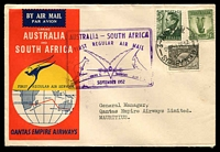 Lot 868 [1 of 2]:1952 Australia - South Africa AAMC #1308a illustrated Qantas cover to Mauritius with adhesives tied by Sydney cds 1SE52, violet cachet at left and backstamped Port Louis 3 SP 52 Intermediate.