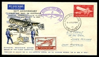 Lot 883:1964 Melbourne-Sydney AAMC #1522 50th Anniversary illustrated flight cover with 2/3d Air Mail tied by Melbourne cds with special cachet at left and special vignette at lower left.