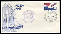 Lot 653:1974 UPU Pigeon Post AAMC #P11 illustrated cover with adhesive tied by National Stamp Week Adelaide cancel 9 OCT 1974 with pigeon flimsy inserted.