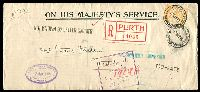 Lot 5209 [1 of 2]:1916 OHMS Registered long cover with 4d orange kangaroo perf large 'OS' (damaged) tied by Registered Perth cds 17 May 16 with large Perth Registration label in red at left with 'NOT KNOWN BY LETTER CARRIER', 'INSUFFICIENTLY ADDRESSED' and 'TOO - LATE' handstamps together with D.L.O. Perth boxed handstamp in violet.