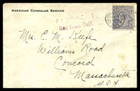 Lot 854:1925 American Consular Service cover to USA with KGV 3d blue tied by San Francisco cds JUN 1 1925 with PAQUEBOT San Fran. Calif. handstamp in red at left.