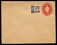 Lot 676:1942-50 2½d Red KGVI Oval BW #EP44(2) on buff, with added 1d Princess.