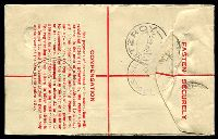 Lot 1018 [2 of 2]:1942-48 5½d Brown KGVI Oval Text in Red BW #RE32 with text in red, curved flap at left, used in 1945.
