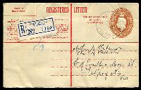 Lot 1018 [1 of 2]:1942-48 5½d Brown KGVI Oval Text in Red BW #RE32 with text in red, curved flap at left, used in 1945.