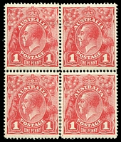 Lot 178:1d Red Line Perf - BW #70A, carmine-red re-joined block of 4