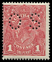 Lot 231:1d Red Rough Paper - BW #72Ibb, rosine shade perf 'OS'.