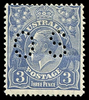 Lot 552:3d Blue Die Ia - BW #107bb Type B Perf 'OS'.